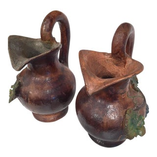 Medieval Barbotine Wine Pitchers - A Pair