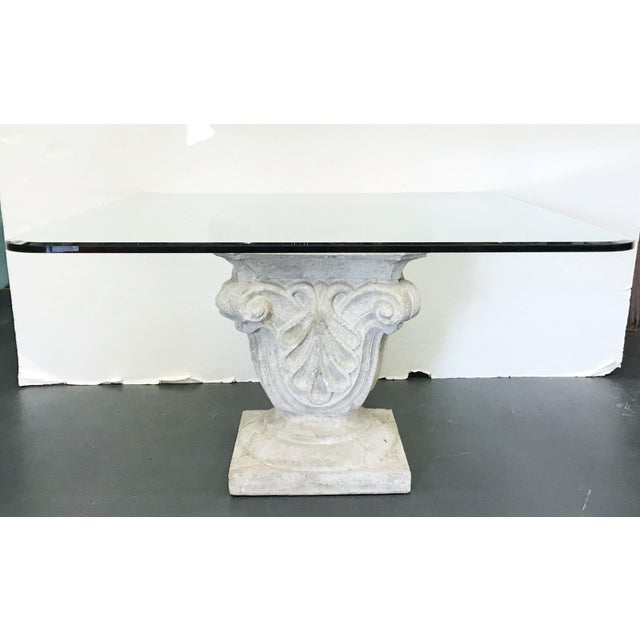Hollywood Regency 1970s Faux Stone Table For Sale - Image 3 of 12