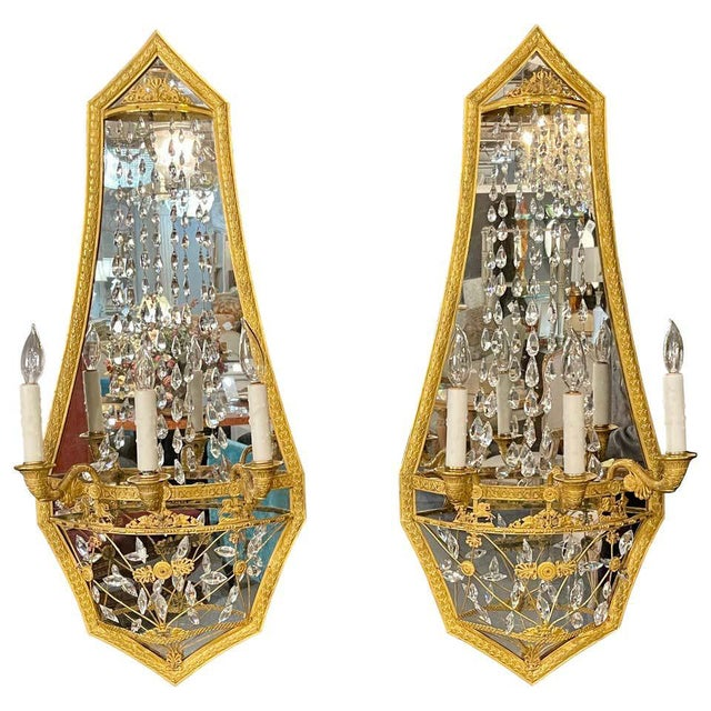 Maison Baguès Mirrored Wall Lights, Sconces or Girandoles - a Pair For Sale - Image 13 of 13