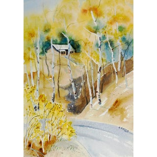 "E. Falig ""Rustic Mountain Cabin"" Watercolor Painting"