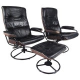 Image of Pair of Scandinavian Modern Reclining Lounge Chairs With Ottoman For Sale