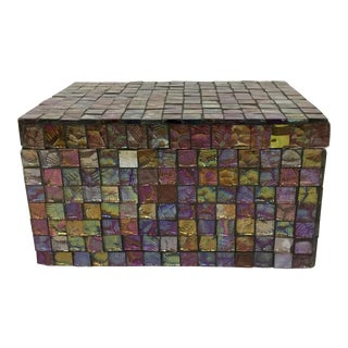 Abstract Glass Mosaic Lidded Treasure Box For Sale