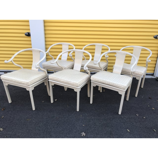 Antique Chinese Ming White Lacquer Horseshoe Dining Chairs - Set of 6 For Sale - Image 9 of 9