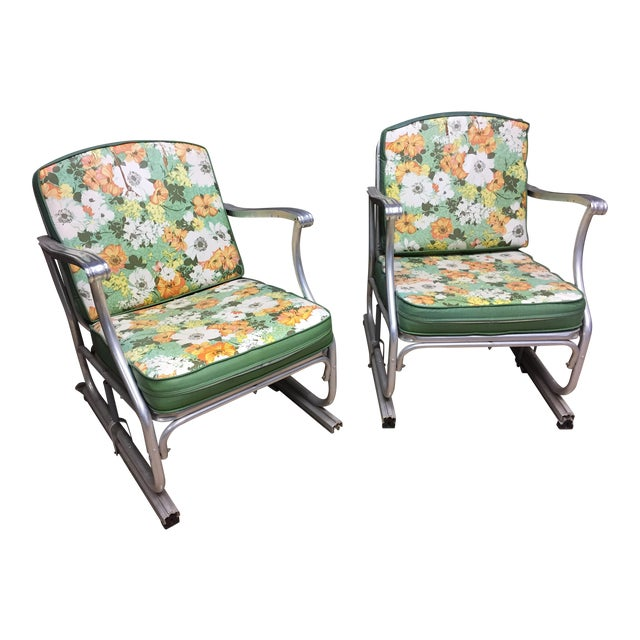 Mid Century Modern Bunting Aluminum Glider Patio Chairs - A Pair For Sale - Mid Century Modern Bunting Aluminum Glider Patio Chairs - A Pair