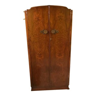 Art Deco Walnut Armoire With Decorative Brass Knobs For Sale