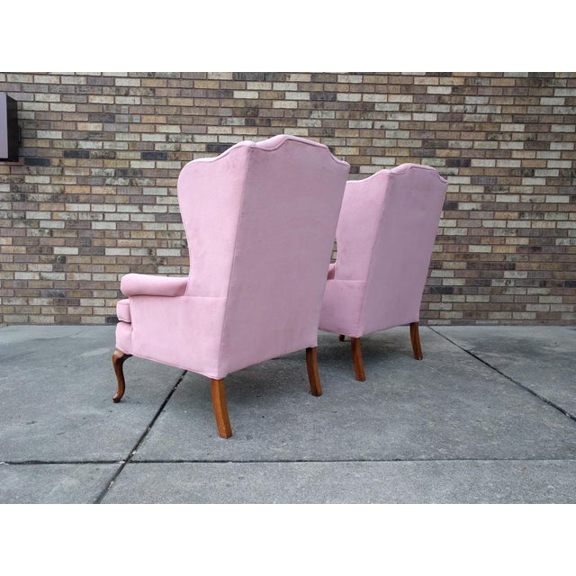 Vintage Queen Anne Pink Velvet Wingback Chairs by Sam Moore Furniture - A Pair - Image 5 of 11