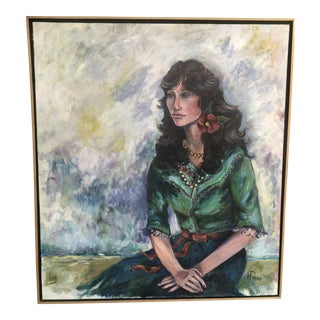 Southwestern Woman With Flower in Hair Signed Painting