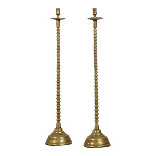 19th Century French Tall Cast Brass Candlesticks - a Pair For Sale