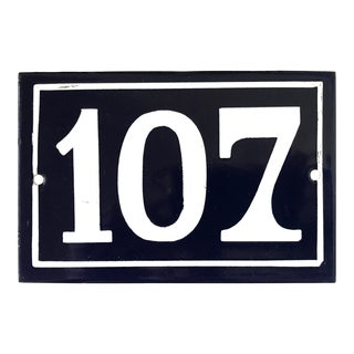 Mid 20th Century Vintage French Enamel House Number Plaque 107 For Sale