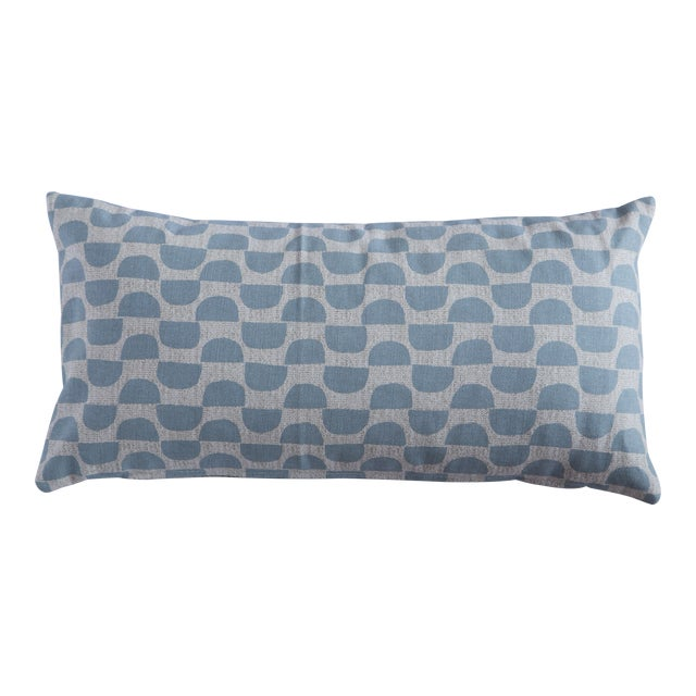 Half Moon Patterned Blue Lumbar Pillow For Sale
