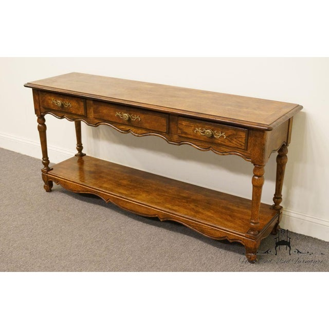 Hickory Manufacturing Company Late 20th Century Vintage Hickory Manufacturing French Oak Console Table For Sale - Image 4 of 13