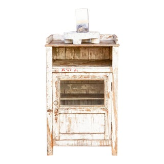 Small Antique White Industrial Cabinet For Sale