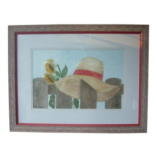 Marie Kook Straw Hat Watercolor For Sale