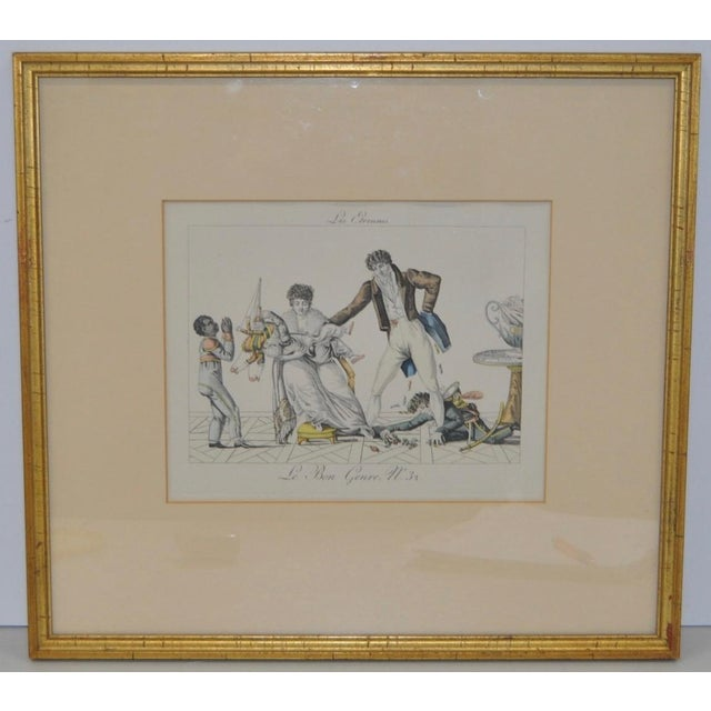 "Early 19th Century Hand Colored French Engraving ""New Year's Gifts"" c.1820s Nearly 200 years old and the color is still..."