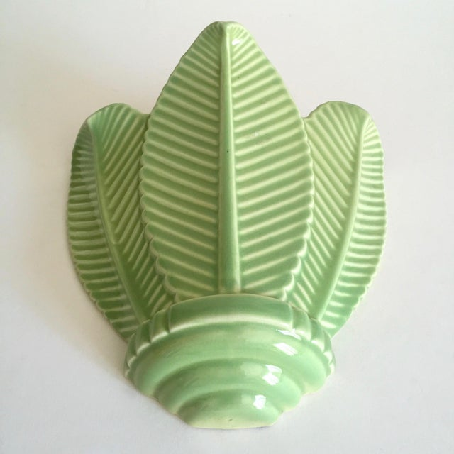 Ceramic Vintage Mid Century Art Deco Pistachio Mint Green Art Pottery Palm Leaf Ceramic Wall Pocket Vase For Sale - Image 7 of 13