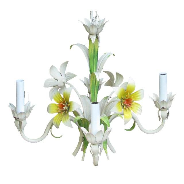 Italian Tole Floral Chandelier, C. 1960 For Sale
