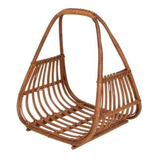 Franco Albini Italian Mid-Century Modern Magazine Rack Holder Basket For Sale