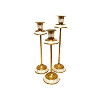 Brass Inlaid Mother of Pearl Candle Holder - Set of 3 For Sale