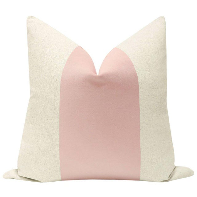 """Pair of beautiful 22"""" natural linen pillows with a saturated Blush velvet center and solid natural linen reverse...."""