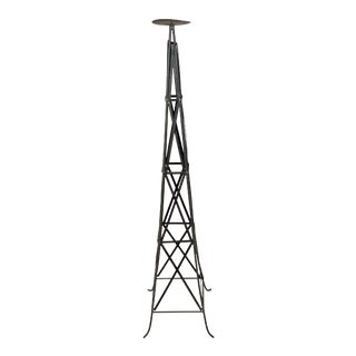 Industrial Modern Iron Tower Sculpture Candle Holder For Sale