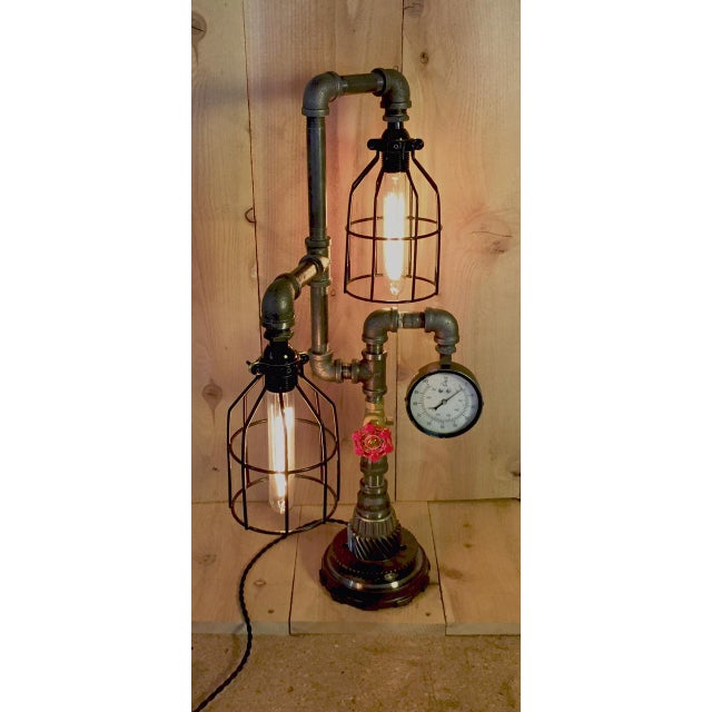 Industrial Steampunk Bulb Cage Lamp - Image 4 of 6
