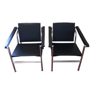 Modern Le Corbusier Lc1 Black Sling Chairs - A Pair For Sale