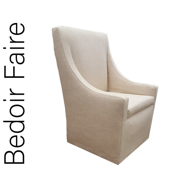 "Contemporary Custom to Order ""Bedoir Faire"" Collection Slipper Chair Menswear Hues For Sale - Image 3 of 10"