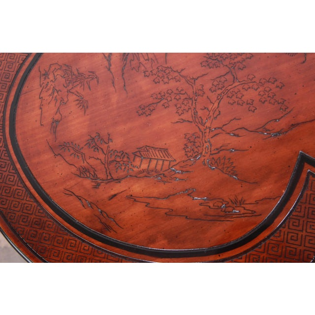 1970s Drexel Heritage Carved Mahogany Hollywood Regency Chinoiserie Clover-Shaped Occasional Table For Sale - Image 5 of 8