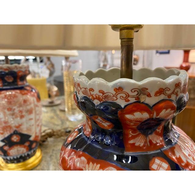 Asian Antique Antique Imari Lamps with Gilt Bronze Mounts - a Pair For Sale - Image 3 of 10