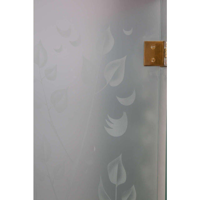 Four-Panel Etched Glass Screen For Sale - Image 4 of 9