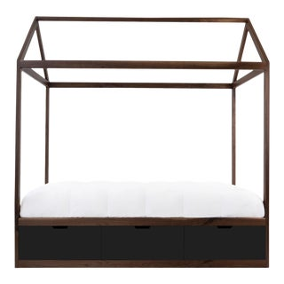 Nico & Yeye Zen Full Panel Bed with Drawers Made of Solid Walnut Black Drawers For Sale