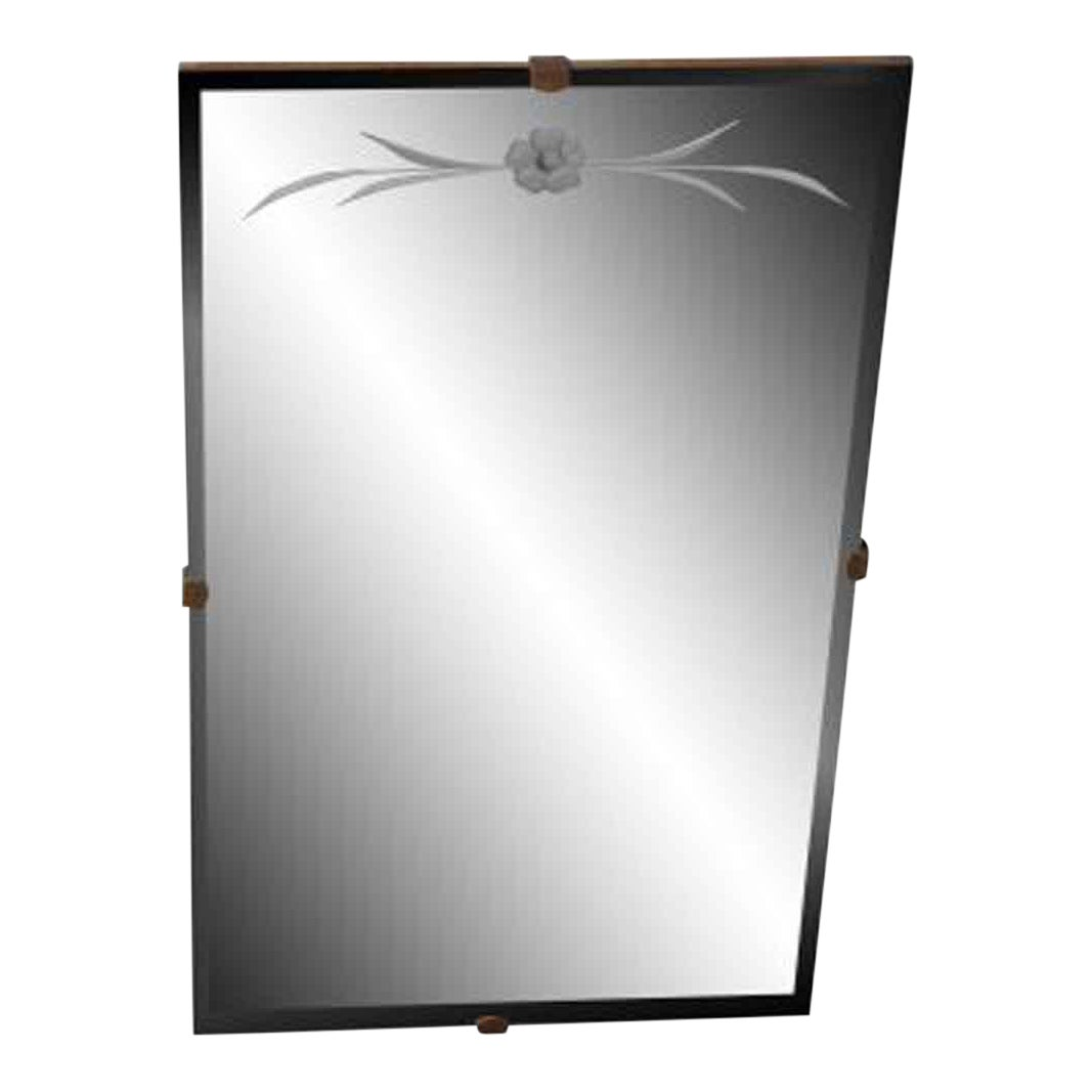 Etched Glass Bathroom Mirror | Chairish
