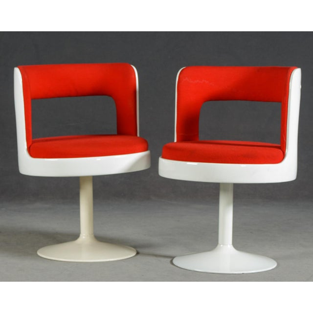 Red 1970s Mid-Century Modern Red & White Easy Chairs - A Pair For Sale - Image 8 of 8