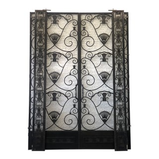 1920s Metal French Doors Art Deco Nouveau Style With Iron and Sidelights - A Pair For Sale