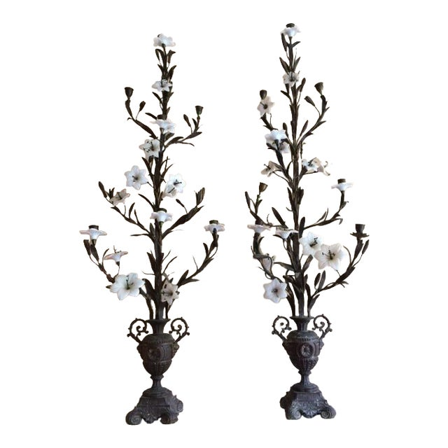Pair of Tall Antique French Candelabras - Image 1 of 5