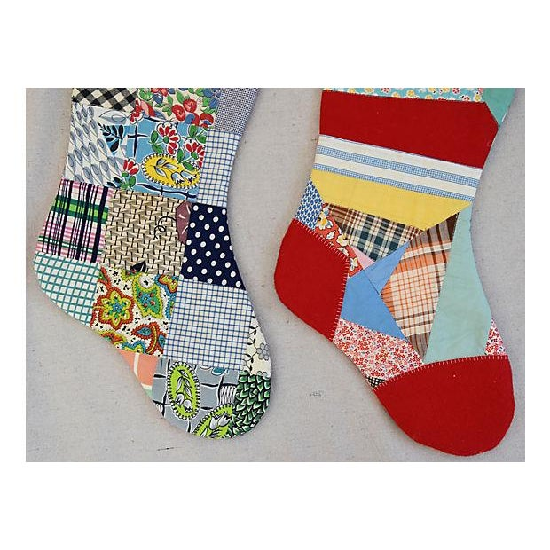 "Early 21st Century Large 22"" Custom Tailored Patchwork Quilt Christmas Stockings - Pair For Sale - Image 5 of 7"
