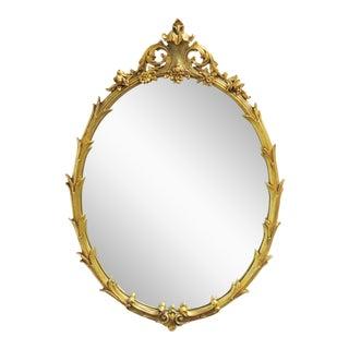 Italain Rococo Gilt Carved Oval Mirror