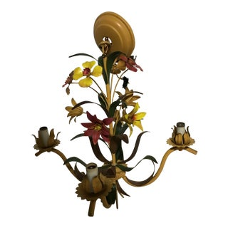 French Tole Ware Hand Painted Chandelier For Sale
