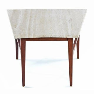 Mid-Century Modern Jens Risom Style Wedge Travertine and Walnut Side Table Preview
