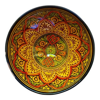 Vintage Moroccan Hand Painted Bowl From Safi