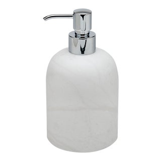 Cava Round Soap Dispenser in Alabaster For Sale