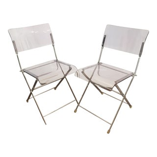 Vintage Italian Mid-Century Lucite Folding Chairs - A Pair