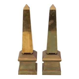 1970s Vintage Italian Brass Obelisks-a Pair For Sale
