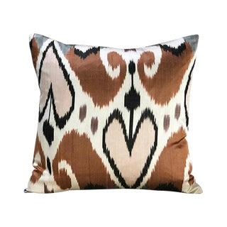 Kim Salmela Modern Turkish Silk Ikat Square Pillow For Sale