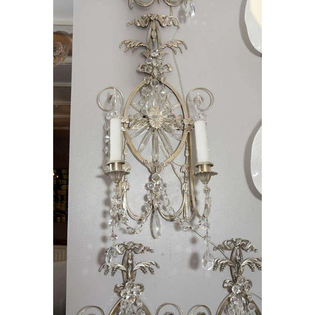 Bronze Pair of 19th Century Silver Leaf and Crystal Sconces For Sale - Image 7 of 7