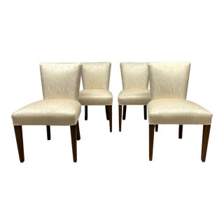 Set of Four Walnut Upholstered Dining Chairs For Sale