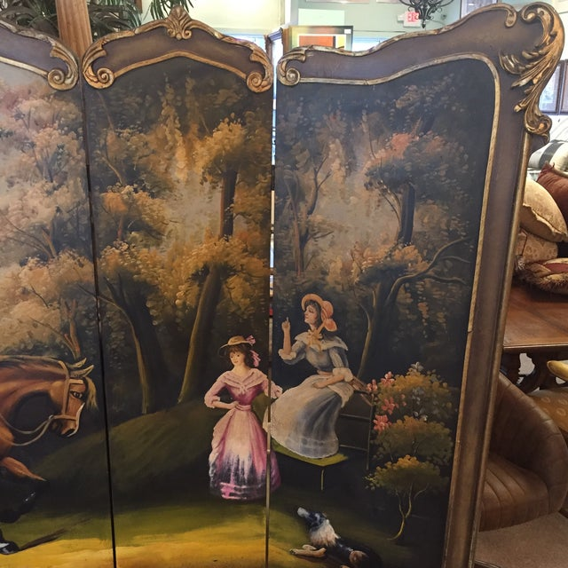 Hand Painted Colonial Scene Divider Screen For Sale - Image 4 of 11