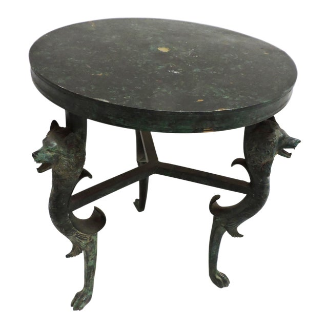Short Bronze Table With Wolf Face Legs For Sale