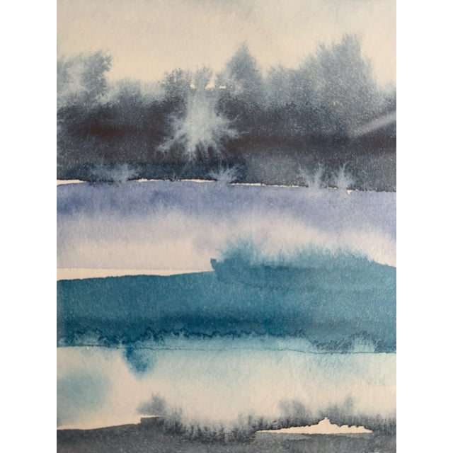 Metal Original Abstract Watercolor in Shades of Blue For Sale - Image 7 of 10
