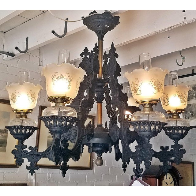 19c Bradley & Hubbard Cast Iron 6 Arm Chandelier For Sale - Image 13 of 13